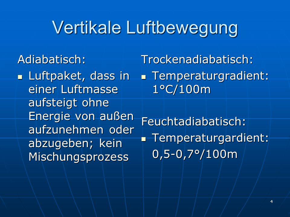 4 Vertikale Luftbewegung Adiabatisch: Luftpaket, dass in einer Luftmasse aufsteigt ohne Energie von außen aufzunehmen oder abzugeben; kein Mischungspr