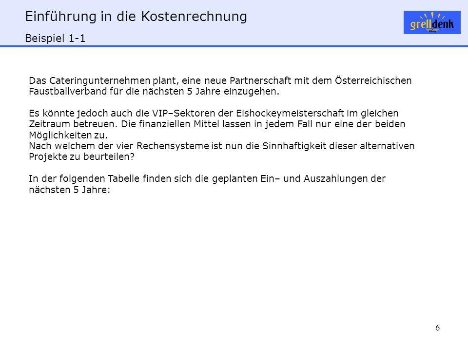 Einführung in die Kostenrechnung 6 Beispiel 1-1 Das Cateringunternehmen plant, eine neue Partnerschaft mit dem Österreichischen Faustballverband für die nächsten 5 Jahre einzugehen.