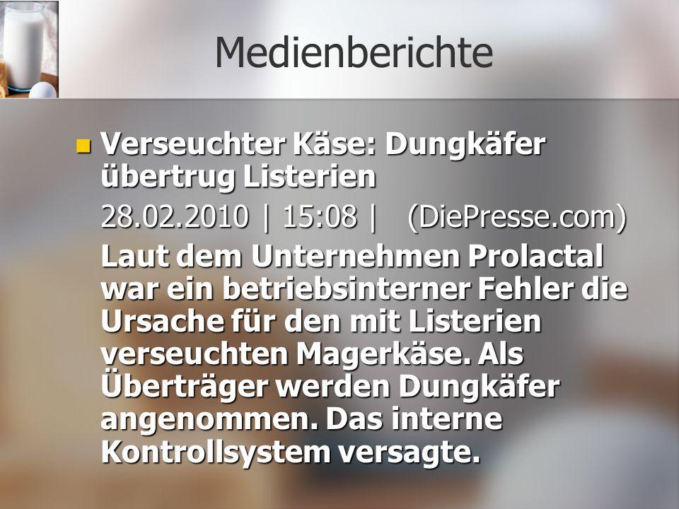 Medienberichte Verseuchter Käse: Dungkäfer übertrug Listerien Verseuchter Käse: Dungkäfer übertrug Listerien 28.02.2010 | 15:08 | (DiePresse.com) Laut