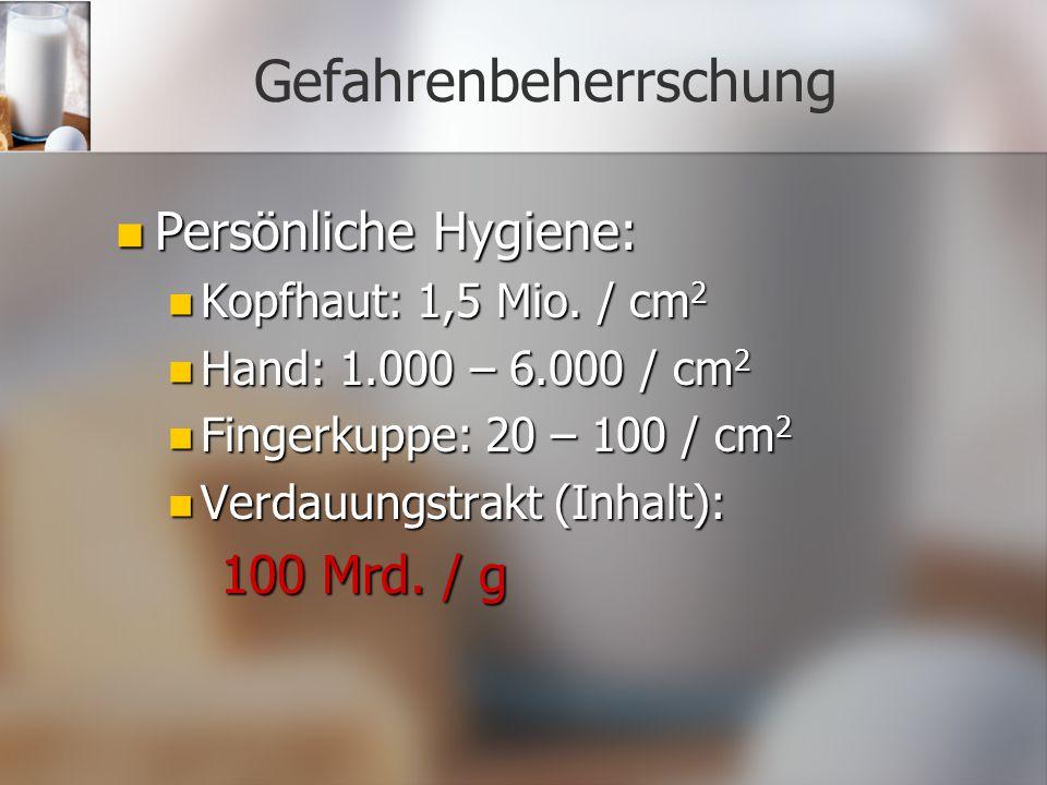 Gefahrenbeherrschung Persönliche Hygiene: Persönliche Hygiene: Kopfhaut: 1,5 Mio. / cm 2 Kopfhaut: 1,5 Mio. / cm 2 Hand: 1.000 – 6.000 / cm 2 Hand: 1.