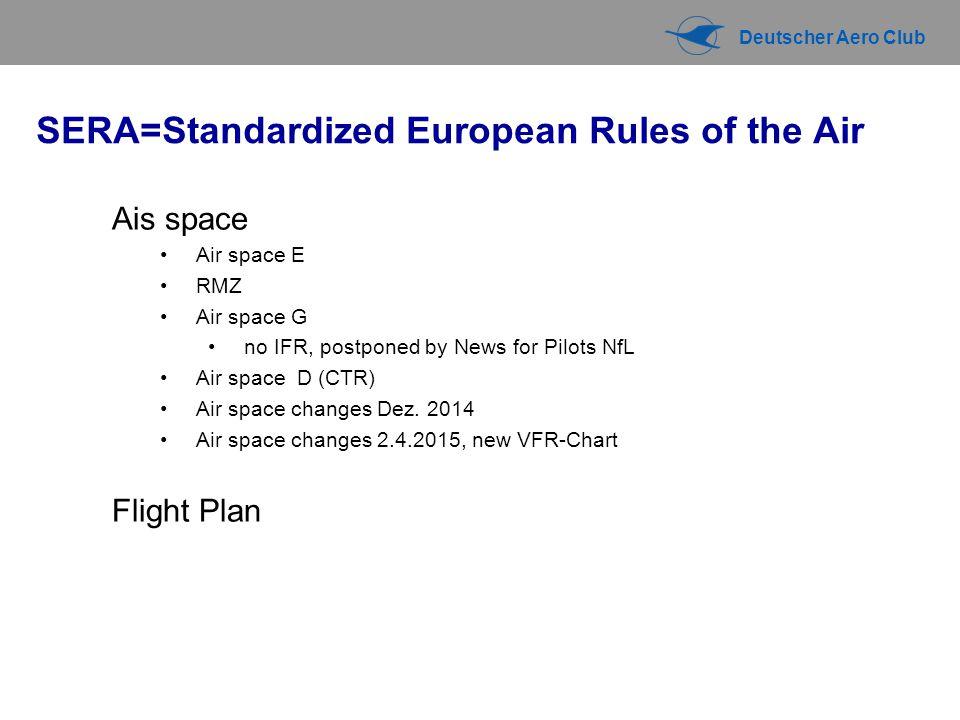 Deutscher Aero Club SERA=Standardized European Rules of the Air Ais space Air space E RMZ Air space G no IFR, postponed by News for Pilots NfL Air space D (CTR) Air space changes Dez.