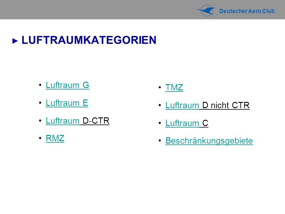 Deutscher Aero Club ► LUFTRAUMKATEGORIEN Luftraum G Luftraum E Luftraum D-CTRLuftraum RMZ TMZ Luftraum D nicht CTRLuftraum Luftraum CLuftraum Beschränkungsgebiete