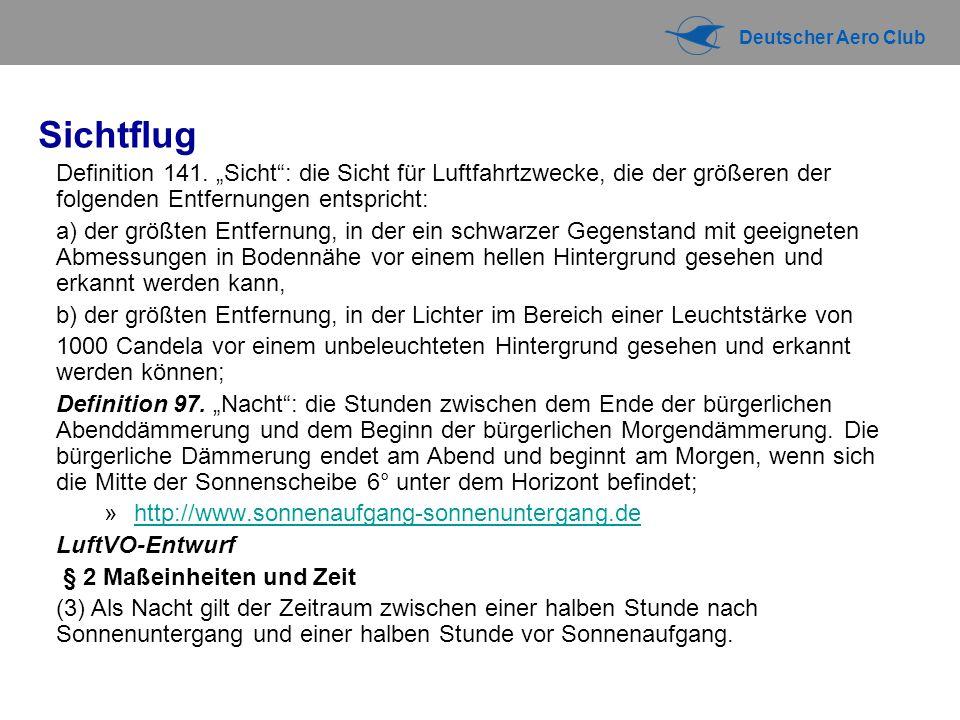Deutscher Aero Club Sichtflug Definition 141.