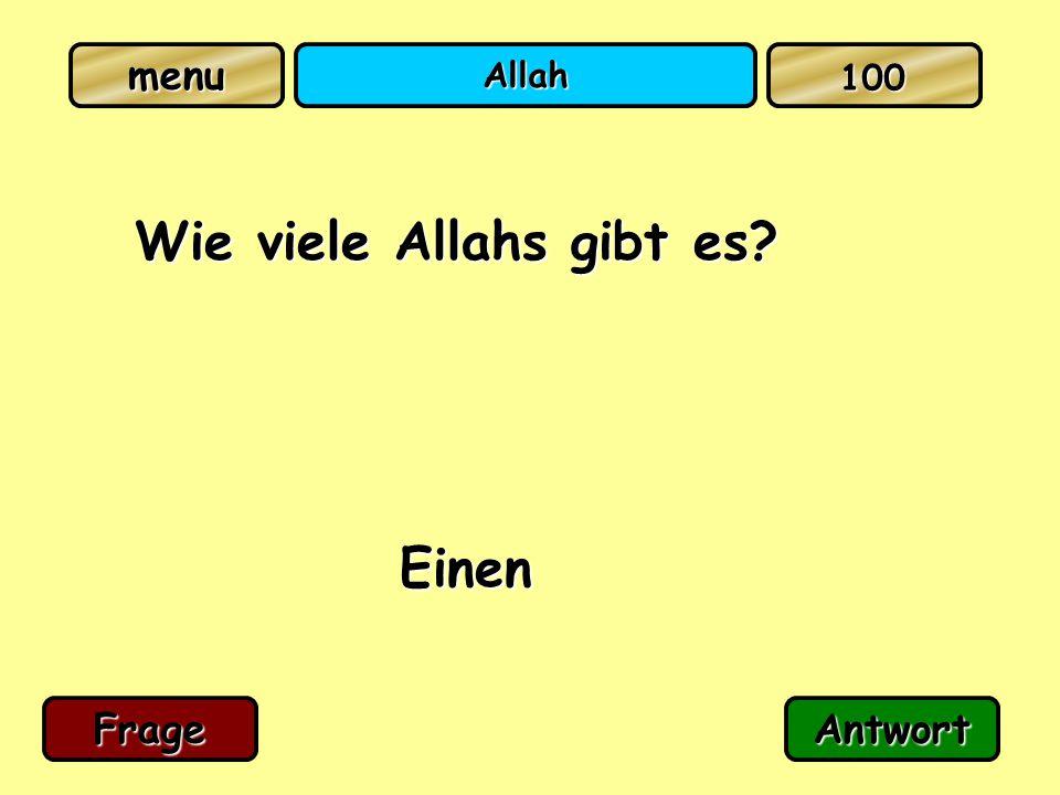 Allah Wie viele Allahs gibt es? Einen FrageAntwort 100