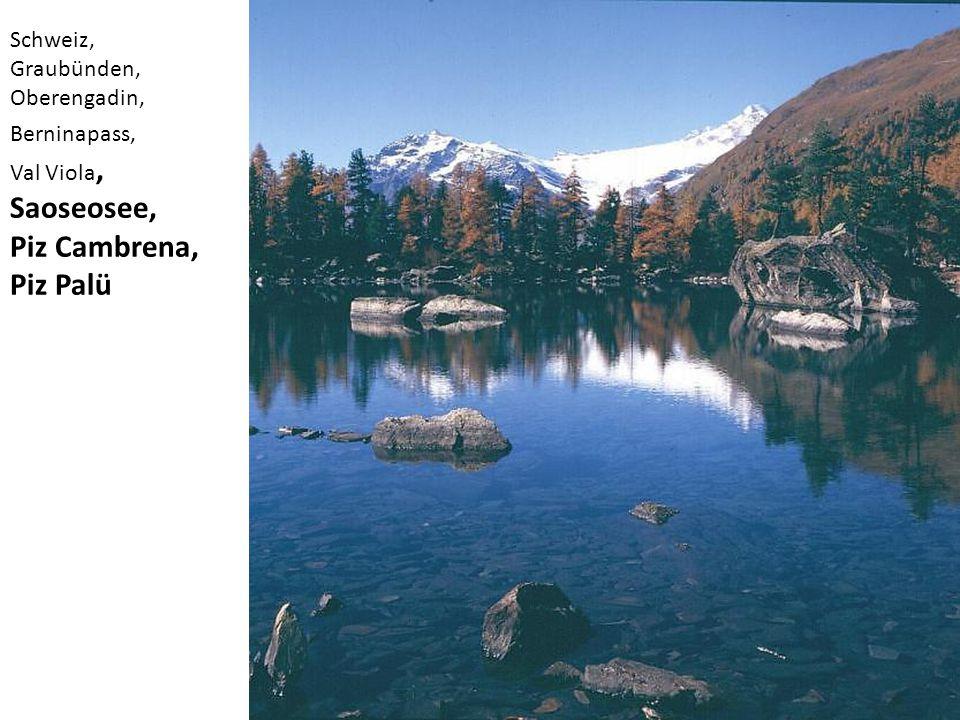 Schweiz, Graubünden, Oberengadin, Berninapass, Val Viola, Saoseosee, Piz Cambrena, Piz Palü
