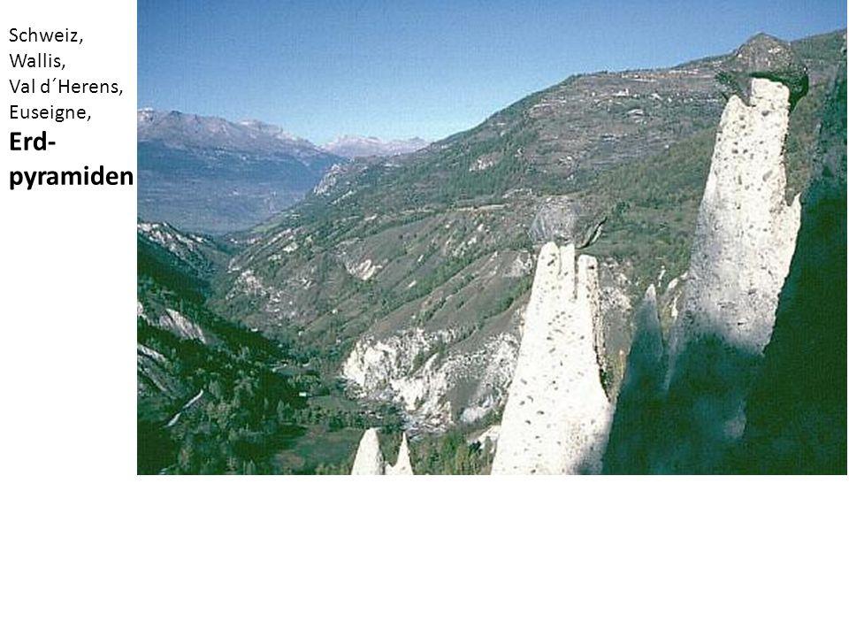 Schweiz, Wallis, Val d´Herens, Euseigne, Erd- pyramiden