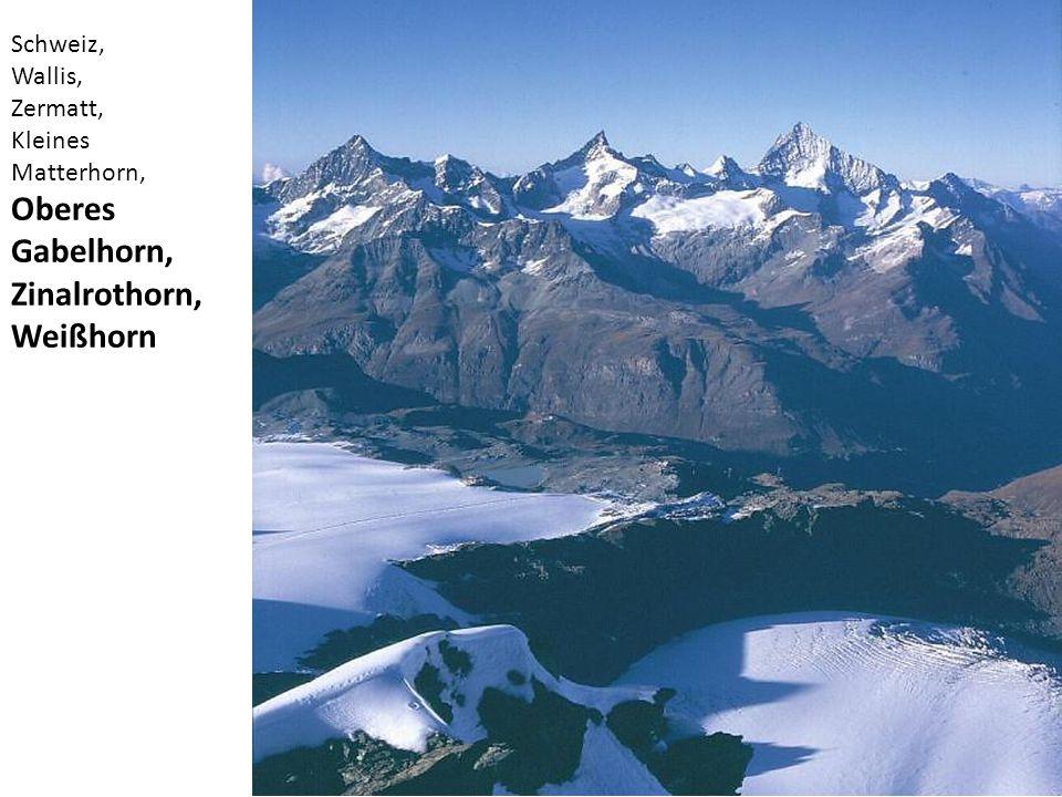 Schweiz, Wallis, Zermatt, Kleines Matterhorn, Oberes Gabelhorn, Zinalrothorn, Weißhorn