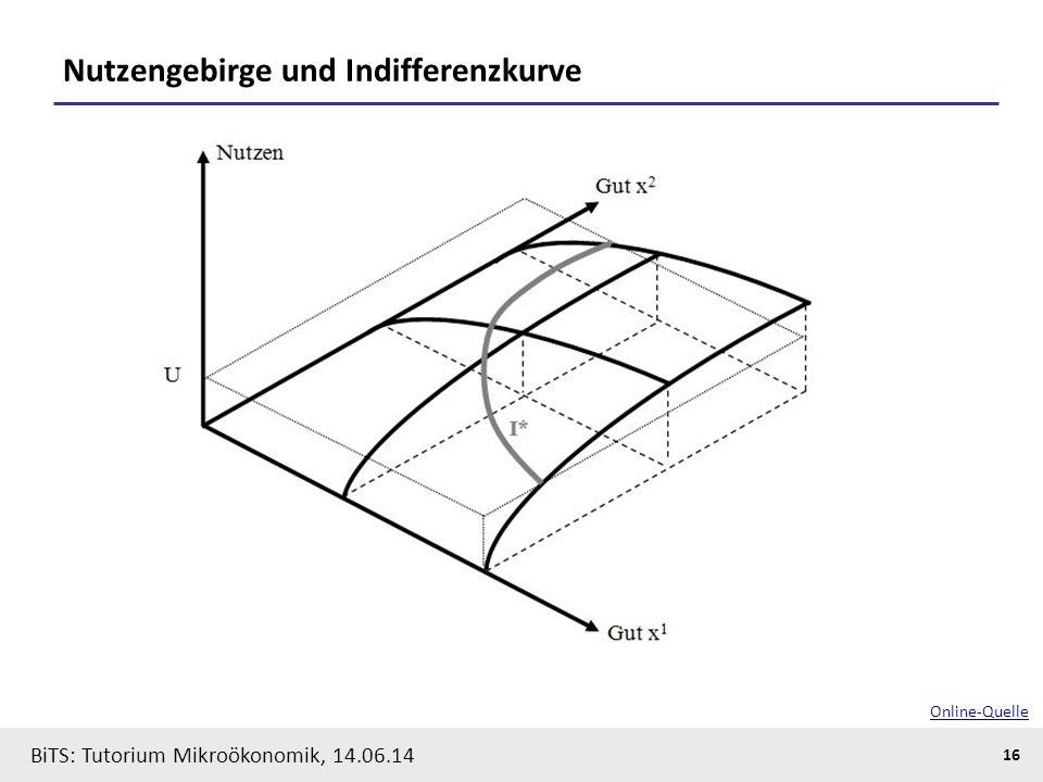 16 BiTS: Tutorium Mikroökonomik, 14.06.14 Nutzengebirge und Indifferenzkurve Online-Quelle