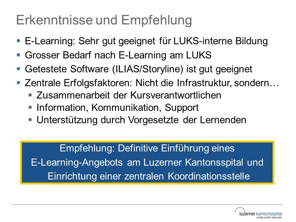 Erkenntnisse und Empfehlung  E-Learning: Sehr gut geeignet für LUKS-interne Bildung  Grosser Bedarf nach E-Learning am LUKS  Getestete Software (IL