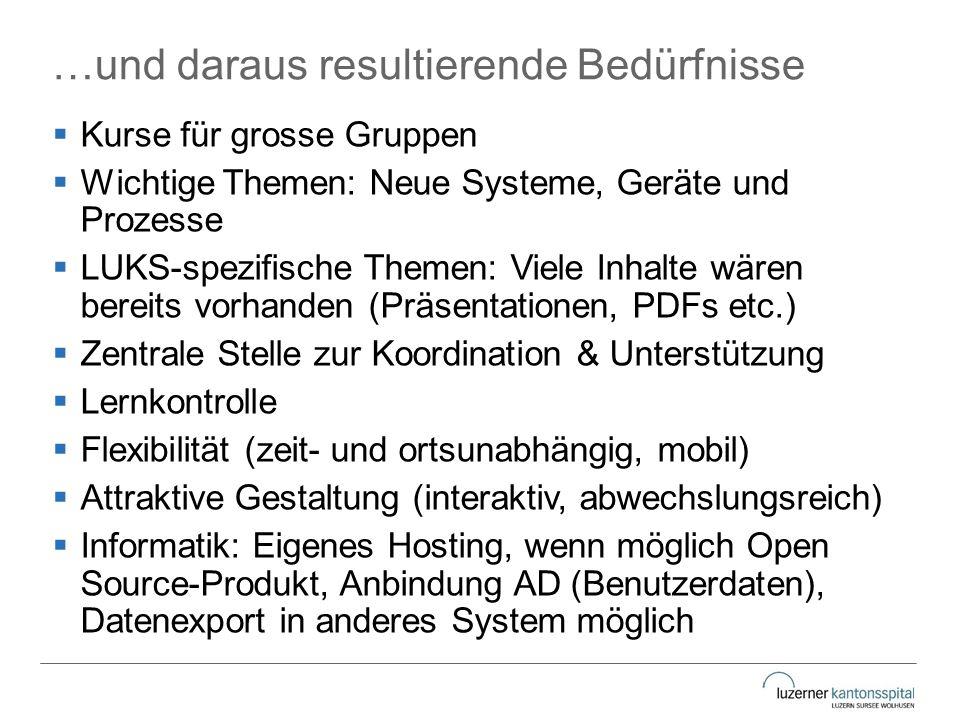 …und daraus resultierende Bedürfnisse  Kurse für grosse Gruppen  Wichtige Themen: Neue Systeme, Geräte und Prozesse  LUKS-spezifische Themen: Viele