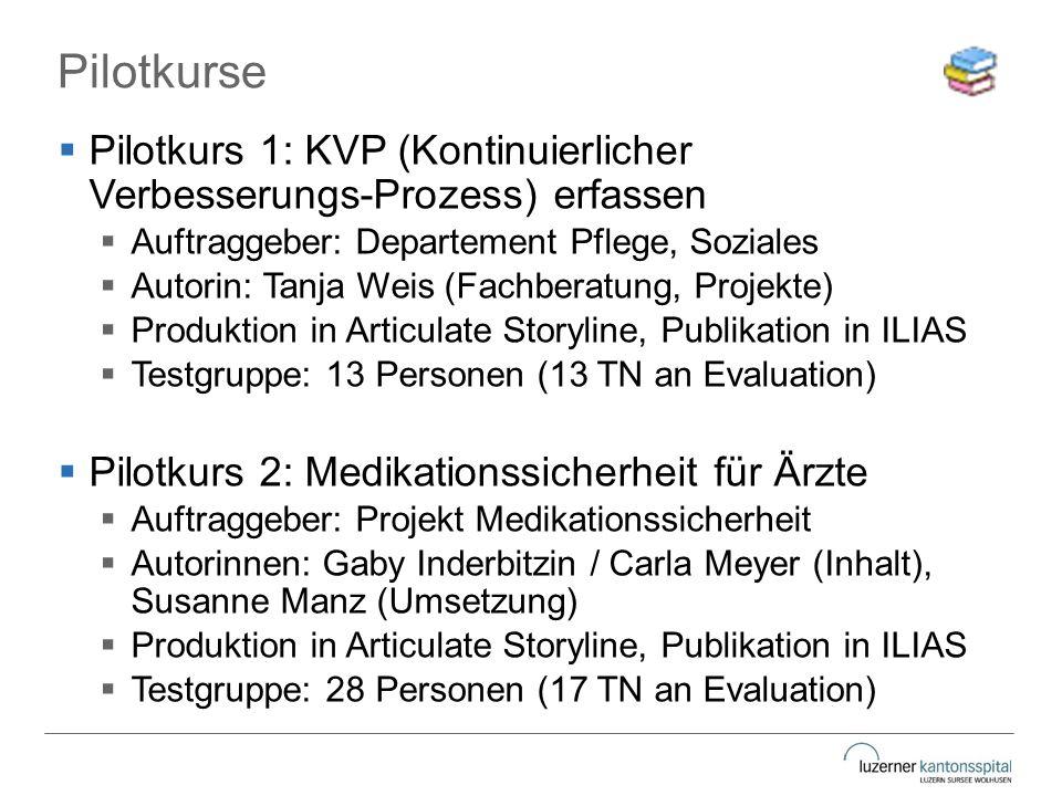 Pilotkurse  Pilotkurs 1: KVP (Kontinuierlicher Verbesserungs-Prozess) erfassen  Auftraggeber: Departement Pflege, Soziales  Autorin: Tanja Weis (Fa
