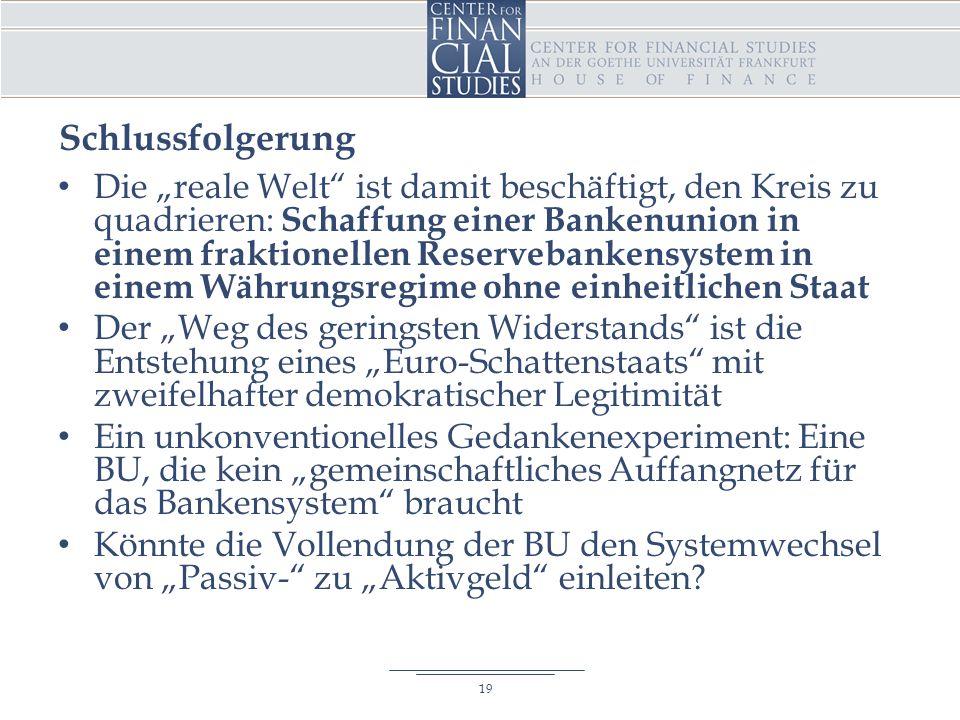 """Schlussfolgerung Die """"reale Welt ist damit beschäftigt, den Kreis zu quadrieren: Schaffung einer Bankenunion in einem fraktionellen Reservebankensystem in einem Währungsregime ohne einheitlichen Staat Der """"Weg des geringsten Widerstands ist die Entstehung eines """"Euro-Schattenstaats mit zweifelhafter demokratischer Legitimität Ein unkonventionelles Gedankenexperiment: Eine BU, die kein """"gemeinschaftliches Auffangnetz für das Bankensystem braucht Könnte die Vollendung der BU den Systemwechsel von """"Passiv- zu """"Aktivgeld einleiten."""