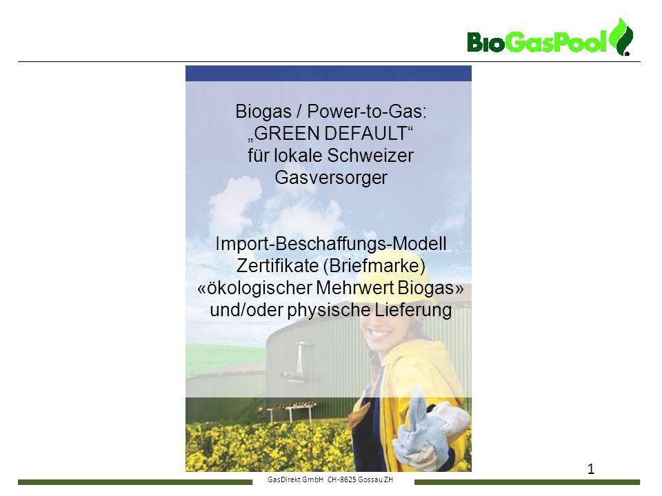 "GasDirekt GmbH CH-8625 Gossau ZH 1 Biogas / Power-to-Gas: ""GREEN DEFAULT"" für lokale Schweizer Gasversorger Import-Beschaffungs-Modell Zertifikate (Br"