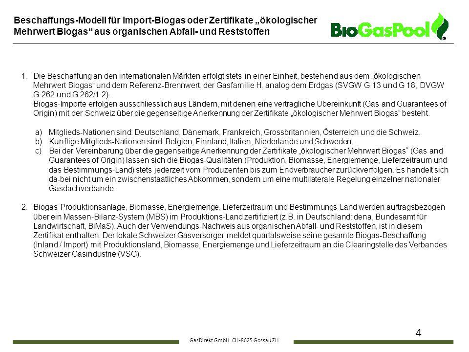 """GasDirekt GmbH CH-8625 Gossau ZH 4 Beschaffungs-Modell für Import-Biogas oder Zertifikate """"ökologischer Mehrwert Biogas"""" aus organischen Abfall- und R"""