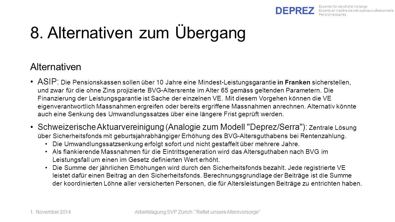 DEPREZ Experten für berufliche Vorsorge Experts en matière de prévoyance professionnelle Pension actuaries 8. Alternativen zum Übergang Alternativen A