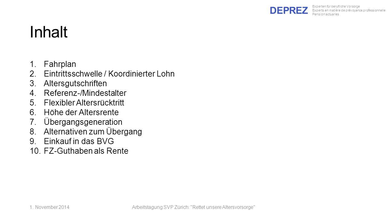 DEPREZ Experten für berufliche Vorsorge Experts en matière de prévoyance professionnelle Pension actuaries Inhalt 1.Fahrplan 2.Eintrittsschwelle / Koo