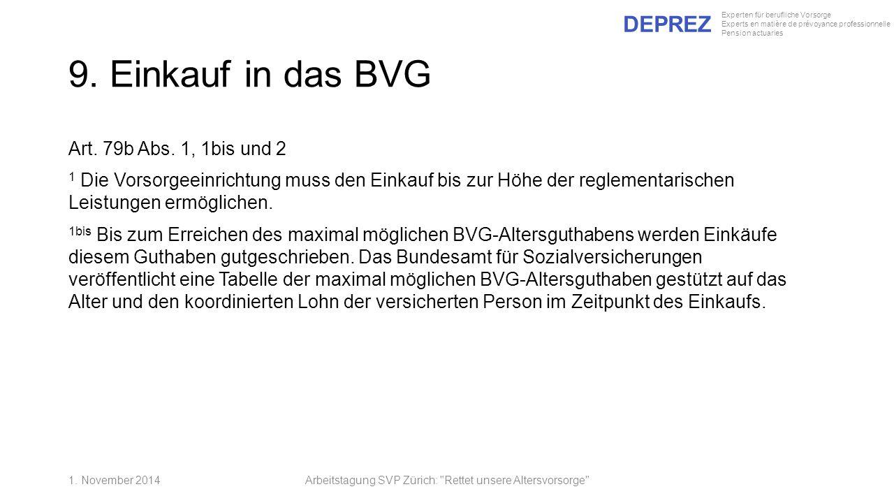 DEPREZ Experten für berufliche Vorsorge Experts en matière de prévoyance professionnelle Pension actuaries 9. Einkauf in das BVG Art. 79b Abs. 1, 1bis
