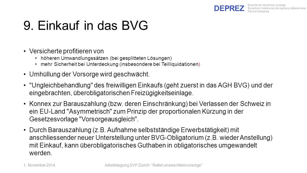 DEPREZ Experten für berufliche Vorsorge Experts en matière de prévoyance professionnelle Pension actuaries 9. Einkauf in das BVG Versicherte profitier