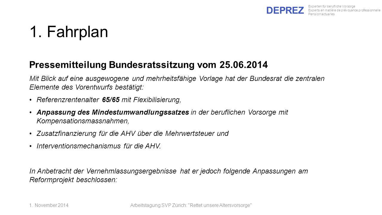 DEPREZ Experten für berufliche Vorsorge Experts en matière de prévoyance professionnelle Pension actuaries 1. Fahrplan Pressemitteilung Bundesratssitz