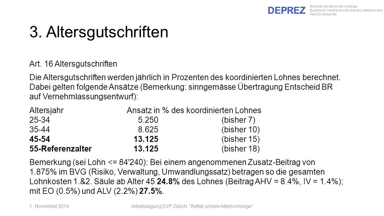 DEPREZ Experten für berufliche Vorsorge Experts en matière de prévoyance professionnelle Pension actuaries 3. Altersgutschriften Art. 16 Altersgutschr