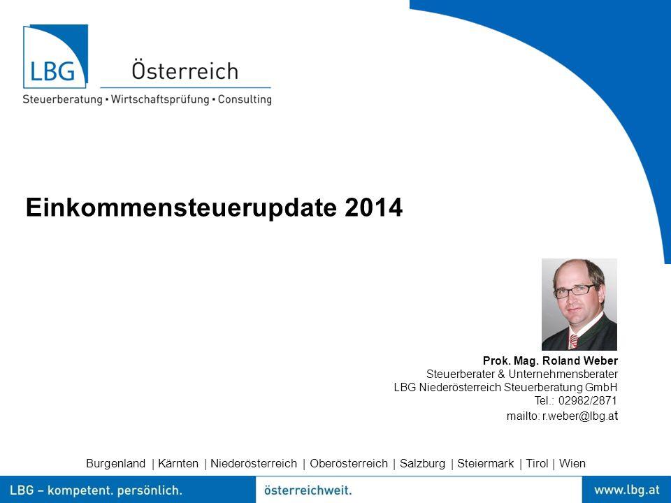 Burgenland | Kärnten | Niederösterreich | Oberösterreich | Salzburg | Steiermark | Tirol | Wien Einkommensteuerupdate 2014 Prok.