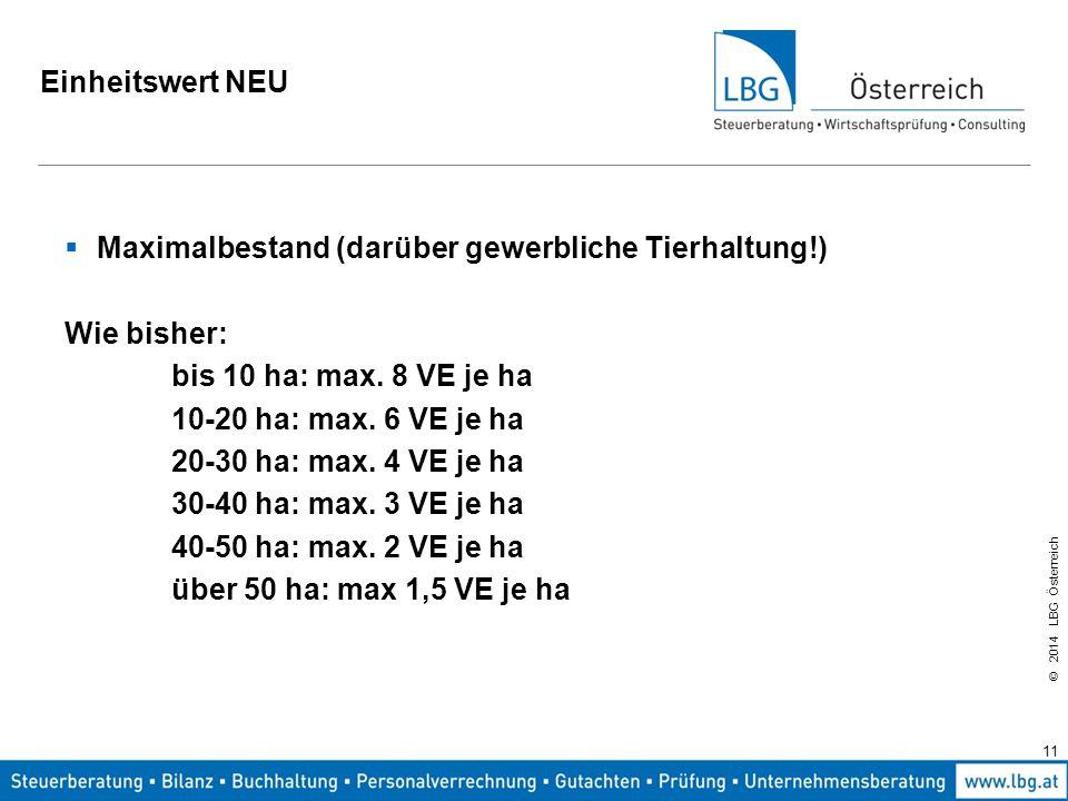 © 2014 LBG Österreich Einheitswert NEU  Maximalbestand (darüber gewerbliche Tierhaltung!) Wie bisher: bis 10 ha: max.