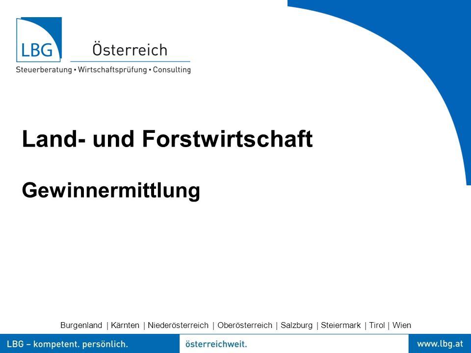 Burgenland | Kärnten | Niederösterreich | Oberösterreich | Salzburg | Steiermark | Tirol | Wien Land- und Forstwirtschaft Gewinnermittlung
