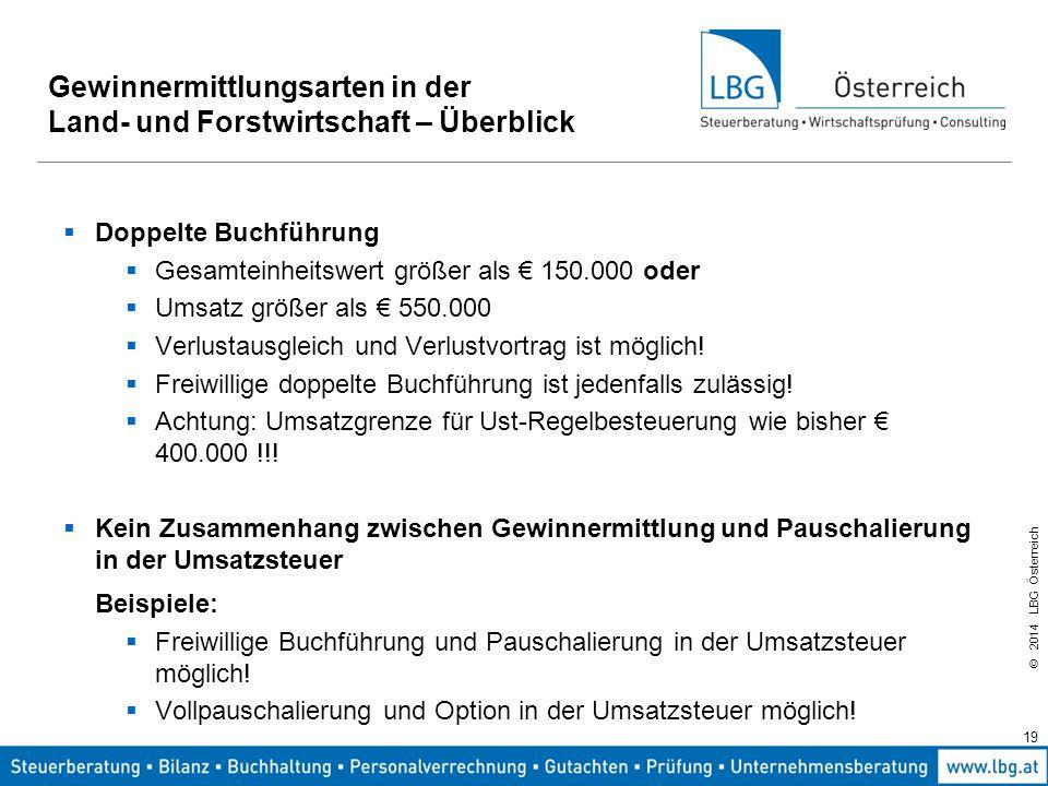 © 2014 LBG Österreich 19 Gewinnermittlungsarten in der Land- und Forstwirtschaft – Überblick  Doppelte Buchführung  Gesamteinheitswert größer als € 150.000 oder  Umsatz größer als € 550.000  Verlustausgleich und Verlustvortrag ist möglich.