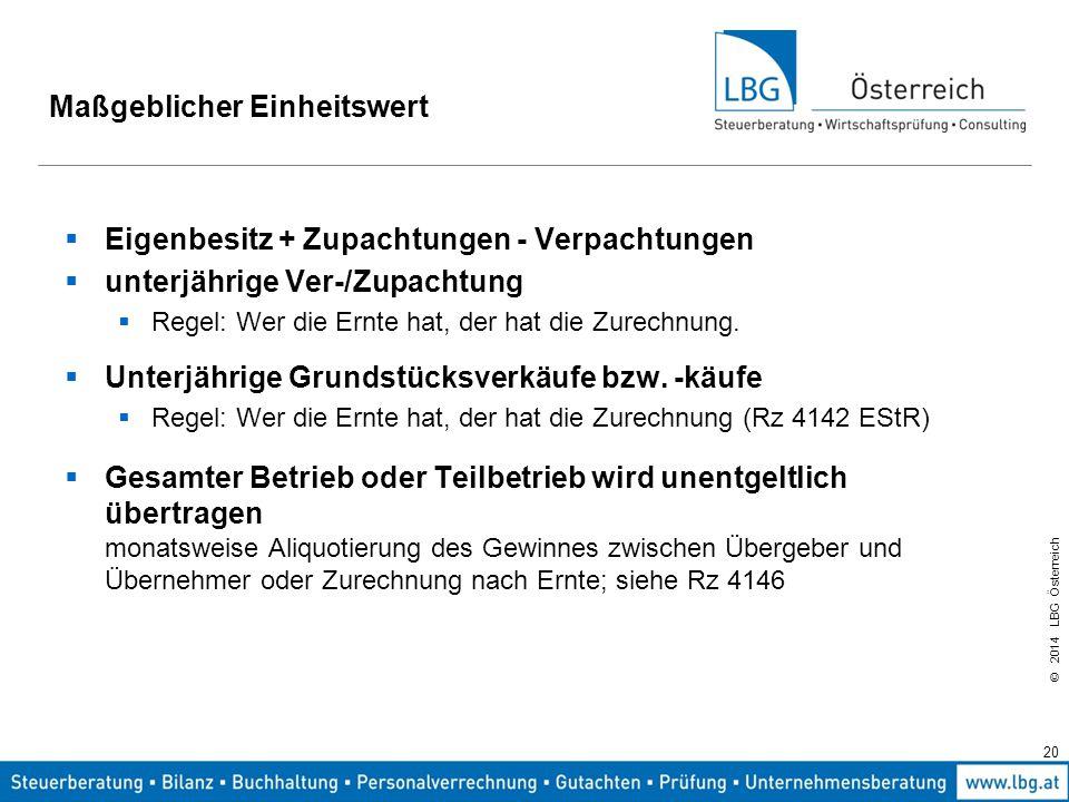 © 2014 LBG Österreich 20 Maßgeblicher Einheitswert  Eigenbesitz + Zupachtungen - Verpachtungen  unterjährige Ver-/Zupachtung  Regel: Wer die Ernte hat, der hat die Zurechnung.