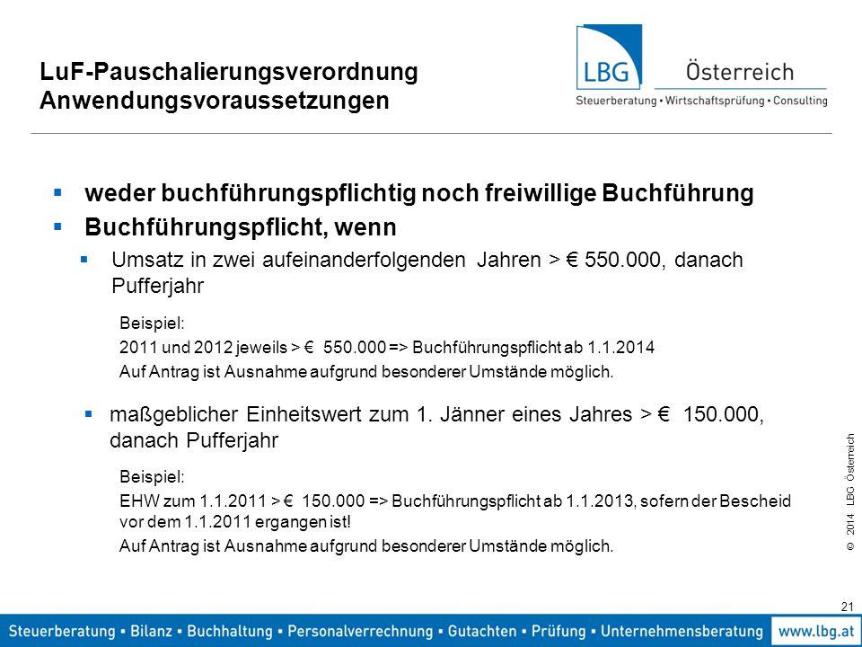 © 2014 LBG Österreich 21 LuF-Pauschalierungsverordnung Anwendungsvoraussetzungen  weder buchführungspflichtig noch freiwillige Buchführung  Buchführungspflicht, wenn  Umsatz in zwei aufeinanderfolgenden Jahren > € 550.000, danach Pufferjahr Beispiel: 2011 und 2012 jeweils > € 550.000 => Buchführungspflicht ab 1.1.2014 Auf Antrag ist Ausnahme aufgrund besonderer Umstände möglich.