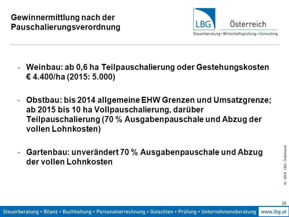 © 2014 LBG Österreich Gewinnermittlung nach der Pauschalierungsverordnung -Weinbau: ab 0,6 ha Teilpauschalierung oder Gestehungskosten € 4.400/ha (2015: 5.000) -Obstbau: bis 2014 allgemeine EHW Grenzen und Umsatzgrenze; ab 2015 bis 10 ha Vollpauschalierung, darüber Teilpauschalierung (70 % Ausgabenpauschale und Abzug der vollen Lohnkosten) -Gartenbau: unverändert 70 % Ausgabenpauschale und Abzug der vollen Lohnkosten 29
