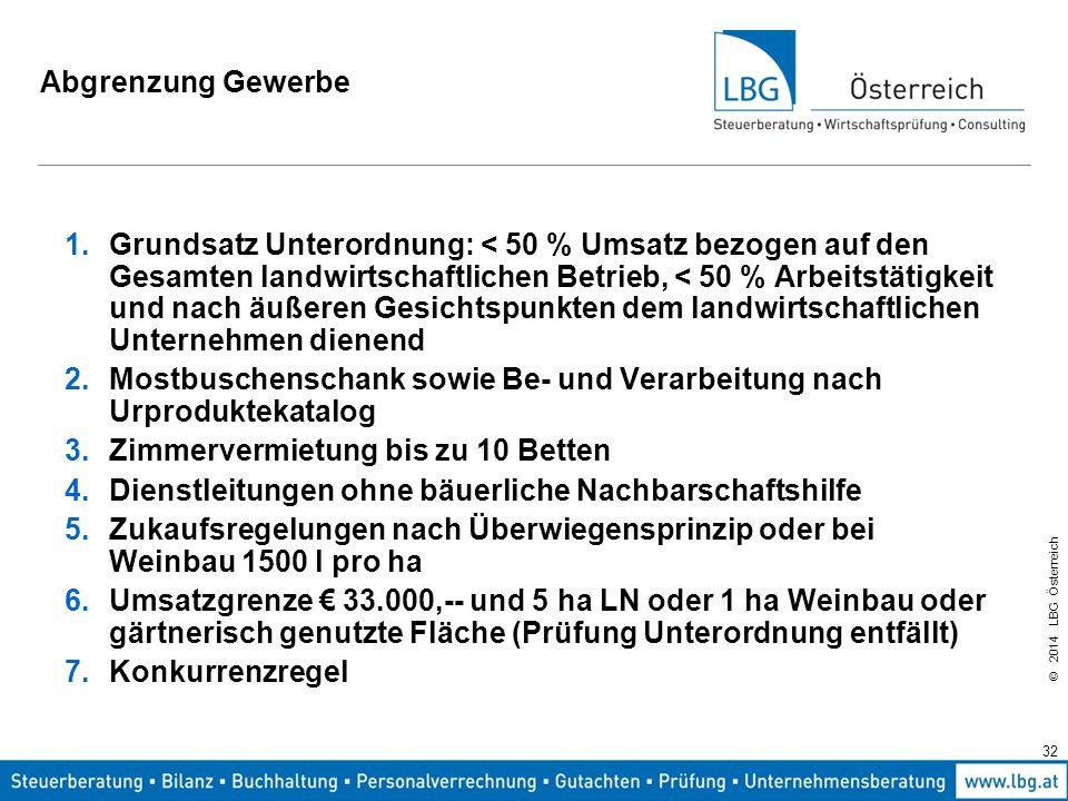 © 2014 LBG Österreich 32 Abgrenzung Gewerbe 1.Grundsatz Unterordnung: < 50 % Umsatz bezogen auf den Gesamten landwirtschaftlichen Betrieb, < 50 % Arbeitstätigkeit und nach äußeren Gesichtspunkten dem landwirtschaftlichen Unternehmen dienend 2.Mostbuschenschank sowie Be- und Verarbeitung nach Urproduktekatalog 3.Zimmervermietung bis zu 10 Betten 4.Dienstleitungen ohne bäuerliche Nachbarschaftshilfe 5.Zukaufsregelungen nach Überwiegensprinzip oder bei Weinbau 1500 l pro ha 6.Umsatzgrenze € 33.000,-- und 5 ha LN oder 1 ha Weinbau oder gärtnerisch genutzte Fläche (Prüfung Unterordnung entfällt) 7.Konkurrenzregel