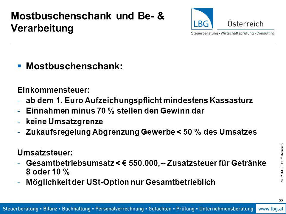 © 2014 LBG Österreich 33 Mostbuschenschank und Be- & Verarbeitung  Mostbuschenschank: Einkommensteuer: -ab dem 1.
