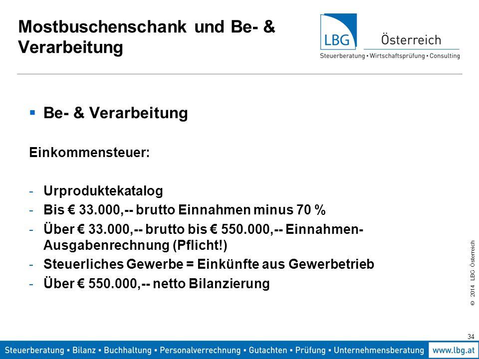 © 2014 LBG Österreich 34 Mostbuschenschank und Be- & Verarbeitung  Be- & Verarbeitung Einkommensteuer: -Urproduktekatalog -Bis € 33.000,-- brutto Einnahmen minus 70 % -Über € 33.000,-- brutto bis € 550.000,-- Einnahmen- Ausgabenrechnung (Pflicht!) -Steuerliches Gewerbe = Einkünfte aus Gewerbetrieb -Über € 550.000,-- netto Bilanzierung