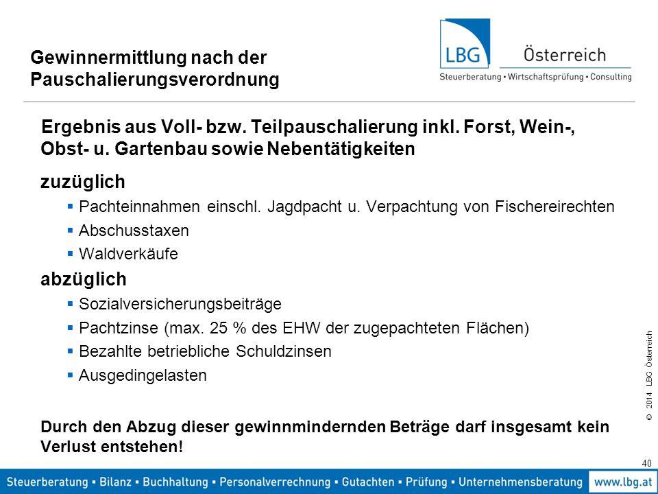 © 2014 LBG Österreich Gewinnermittlung nach der Pauschalierungsverordnung Ergebnis aus Voll- bzw.