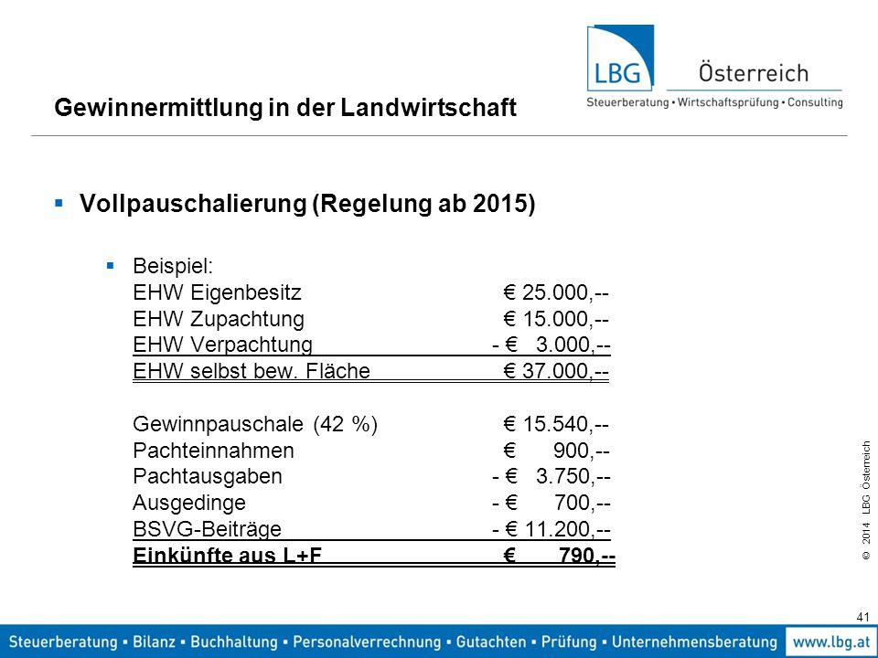 © 2014 LBG Österreich  Vollpauschalierung (Regelung ab 2015)  Beispiel: EHW Eigenbesitz € 25.000,-- EHW Zupachtung € 15.000,-- EHW Verpachtung- € 3.000,-- EHW selbst bew.