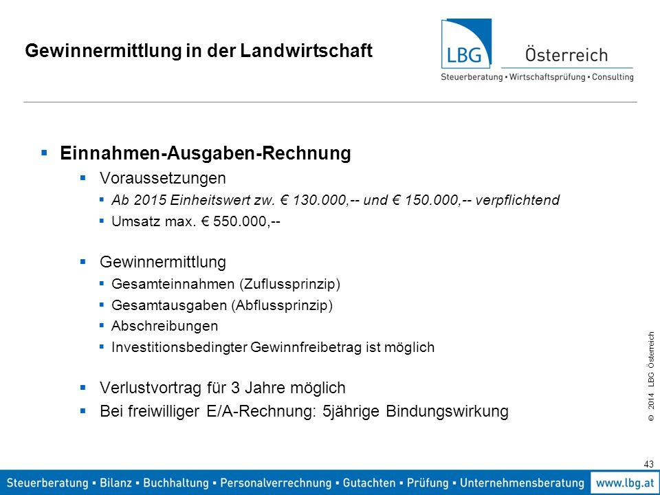 © 2014 LBG Österreich Gewinnermittlung in der Landwirtschaft  Einnahmen-Ausgaben-Rechnung  Voraussetzungen  Ab 2015 Einheitswert zw.