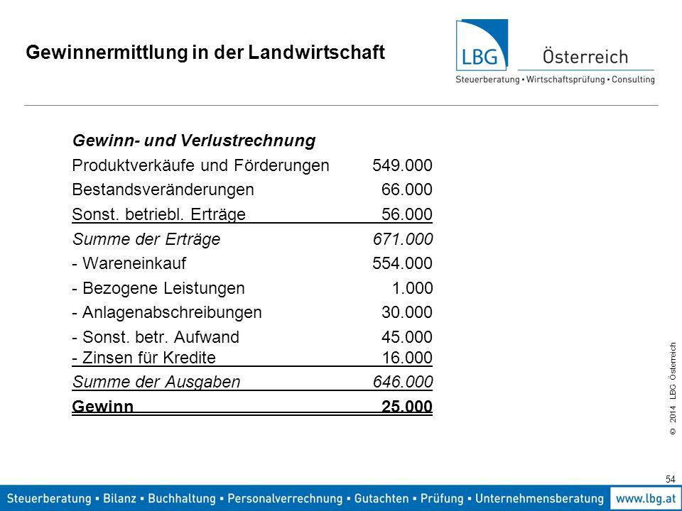 © 2014 LBG Österreich Gewinnermittlung in der Landwirtschaft Gewinn- und Verlustrechnung Produktverkäufe und Förderungen549.000 Bestandsveränderungen 66.000 Sonst.