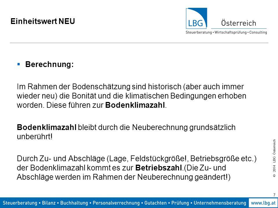 © 2014 LBG Österreich Einheitswert NEU Hektarsatzberechnung: Hektarsatz = Betriebszahl x 2.400,--/100 Einheitswert aus der Fläche = Fläche x Hektarsatz 8