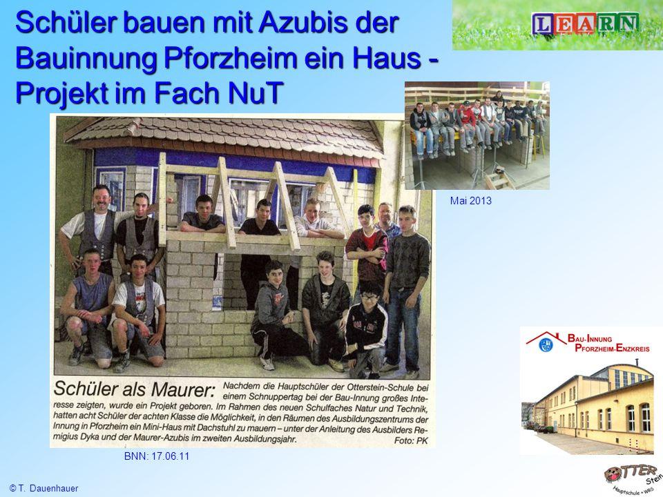 BNN: 17.06.11 Schüler bauen mit Azubis der Bauinnung Pforzheim ein Haus - Projekt im Fach NuT Mai 2013 © T. Dauenhauer