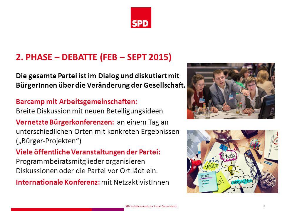 SPD Sozialdemokratische Partei Deutschlands 9 Skype-Sprechstunde Chat mit Themenpaten Microblogs mit Erfahrungsberichten Google-Hangout mit ExpertInnen Twitter-Interviews Telefon-Sprechstunde 2.