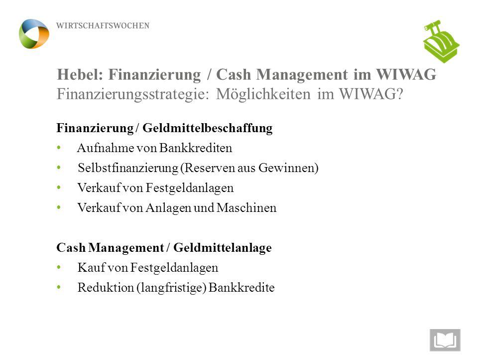 Hebel: Finanzierung / Cash Management im WIWAG Finanzierungsstrategie: Möglichkeiten im WIWAG? Finanzierung / Geldmittelbeschaffung Aufnahme von Bankk