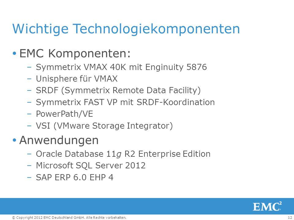 12© Copyright 2012 EMC Deutschland GmbH. Alle Rechte vorbehalten. Wichtige Technologiekomponenten  EMC Komponenten: –Symmetrix VMAX 40K mit Enginuity