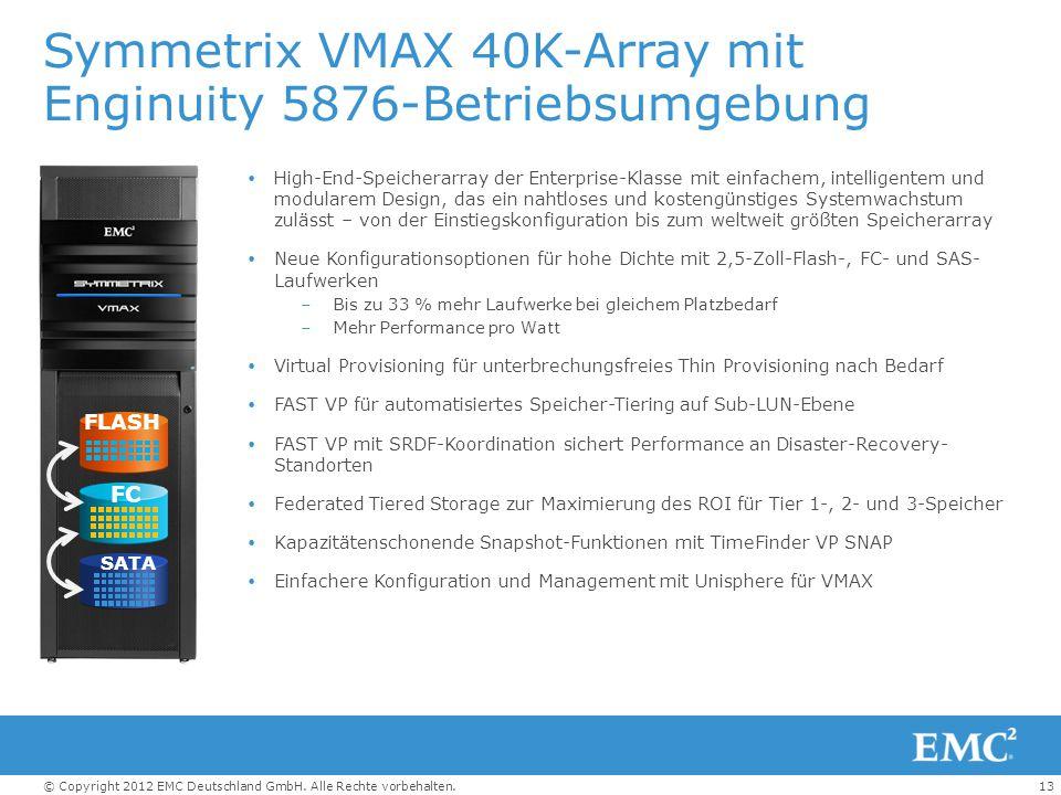 13© Copyright 2012 EMC Deutschland GmbH. Alle Rechte vorbehalten. Symmetrix VMAX 40K-Array mit Enginuity 5876-Betriebsumgebung  High-End-Speicherarra