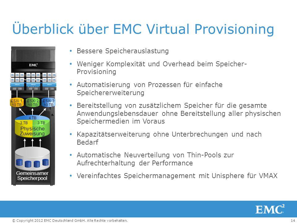 14© Copyright 2012 EMC Deutschland GmbH. Alle Rechte vorbehalten. Überblick über EMC Virtual Provisioning  Bessere Speicherauslastung  Weniger Kompl