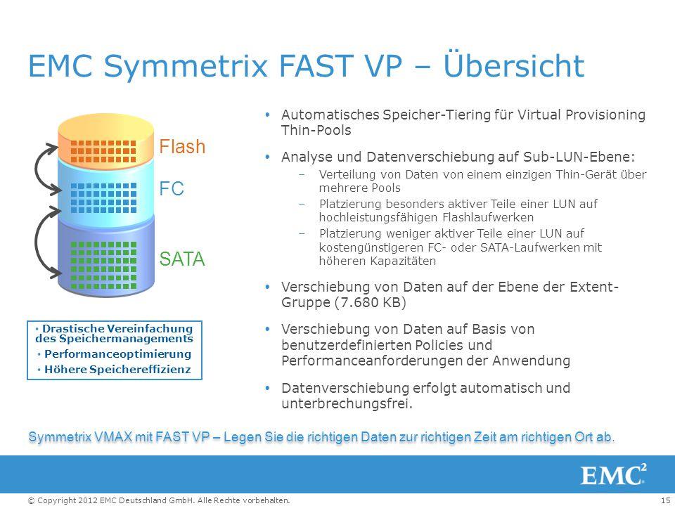 15© Copyright 2012 EMC Deutschland GmbH. Alle Rechte vorbehalten. EMC Symmetrix FAST VP – Übersicht  Automatisches Speicher-Tiering für Virtual Provi