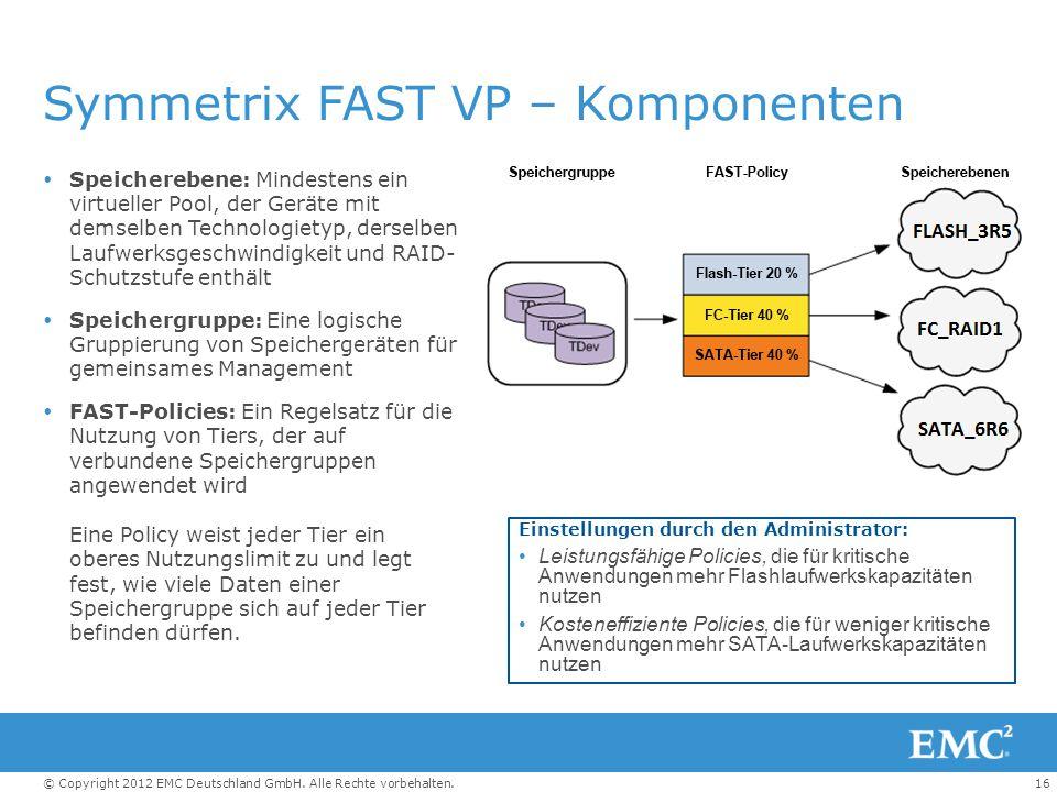 16© Copyright 2012 EMC Deutschland GmbH. Alle Rechte vorbehalten. Symmetrix FAST VP – Komponenten  Speicherebene: Mindestens ein virtueller Pool, der