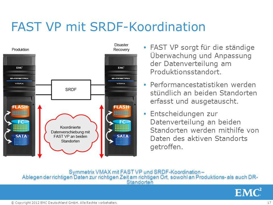 17© Copyright 2012 EMC Deutschland GmbH. Alle Rechte vorbehalten. FAST VP mit SRDF-Koordination  FAST VP sorgt für die ständige Überwachung und Anpas