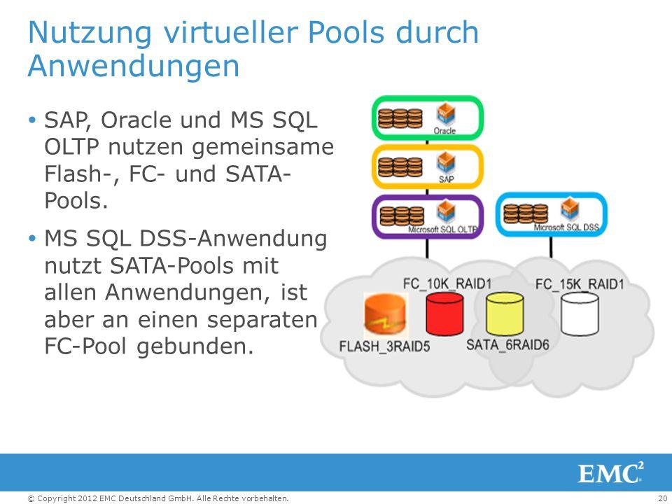 20© Copyright 2012 EMC Deutschland GmbH. Alle Rechte vorbehalten. Nutzung virtueller Pools durch Anwendungen  SAP, Oracle und MS SQL OLTP nutzen geme