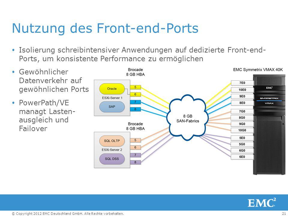 21© Copyright 2012 EMC Deutschland GmbH. Alle Rechte vorbehalten. Nutzung des Front-end-Ports  Isolierung schreibintensiver Anwendungen auf dediziert